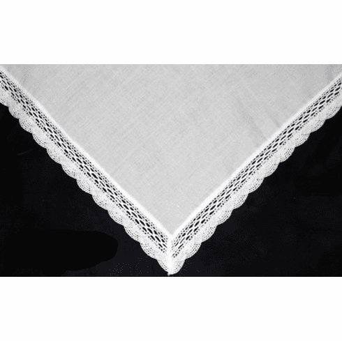 Ladies 100% Irish Linen White Fan Lace Handkerchief