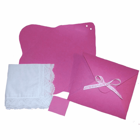 Ladies' Handkerchief Box Raspberry Hot Pink Flat Fold