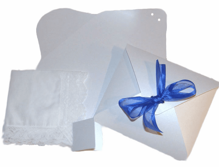 Ladies' Handkerchief Box Shimmering Stark White Flat Fold