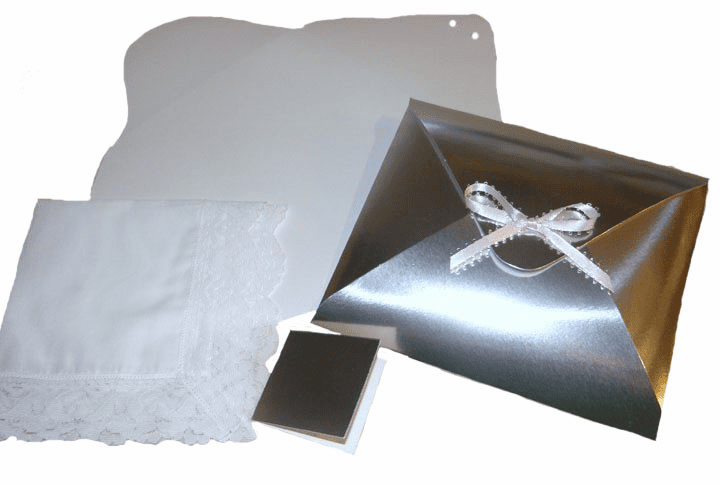 Ladies' Handkerchief Box Silver Foil Flat Fold