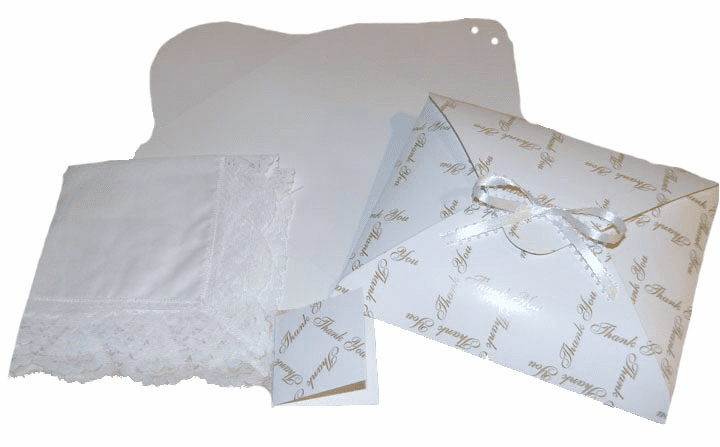 Ladies' Handkerchief Box White Thank You Print Flat Fold
