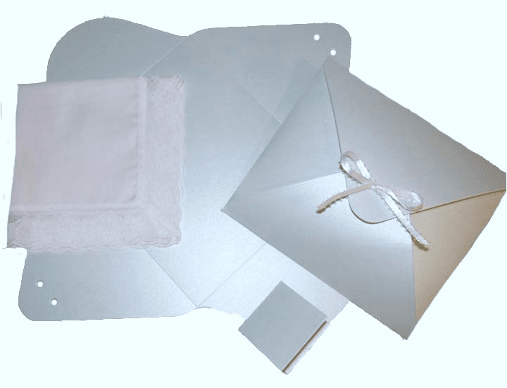 Ladies Handkerchief Envelope Flat Fold Shimmering Light Blue