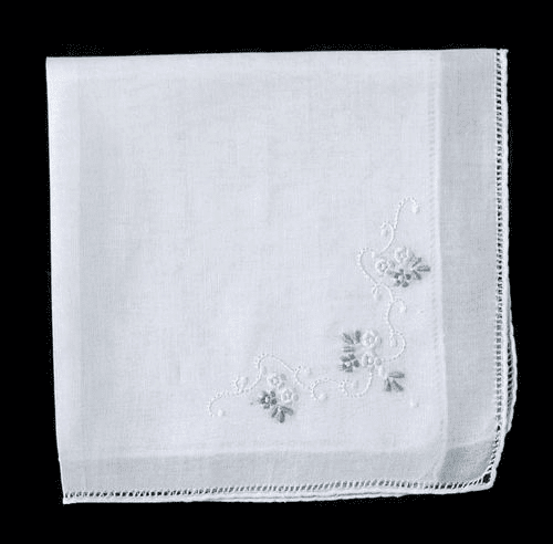 Ladies White 100% Cotton Floral Embroidered Corner Handkerchief