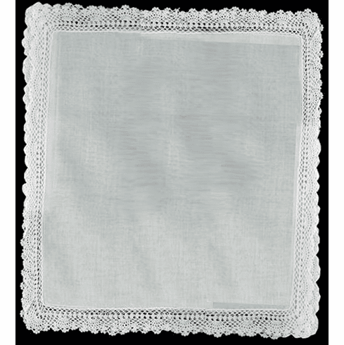 Ladies White Crocheted Lace Wedding Handkerchief