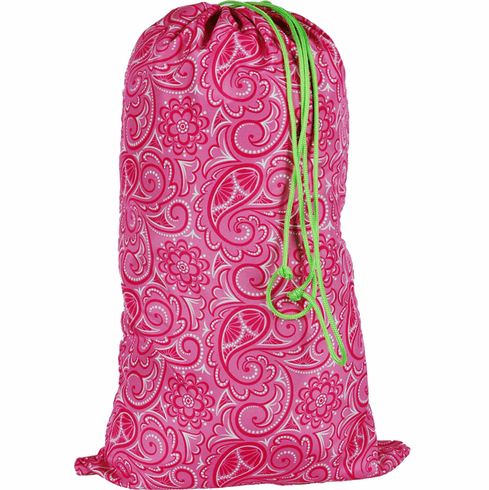 Laundry Bags Large Hot Pink Paisley