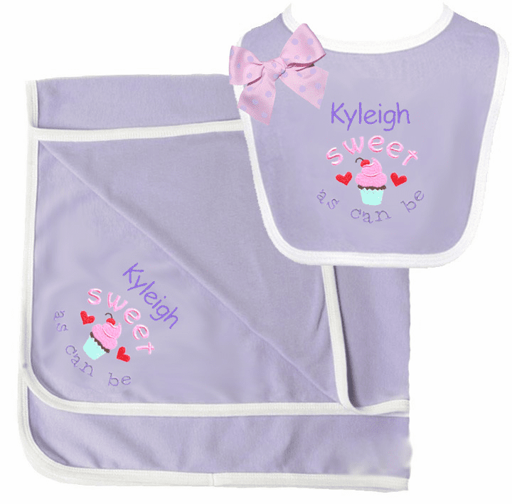 Lavender, White Binding Interlock Cotton Receiving Blanket & Bib Set