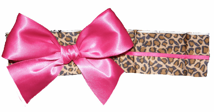 Leopard Ribbon Ruffles Headband with Hot Pink Bow