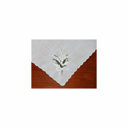 Lily of the Valley Embroidered Cotton Handkerchief Personalize Me
