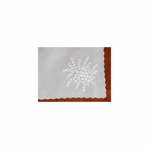 Lily Valley Spray White Wedding Embroidered Handkerchief Personalize Me