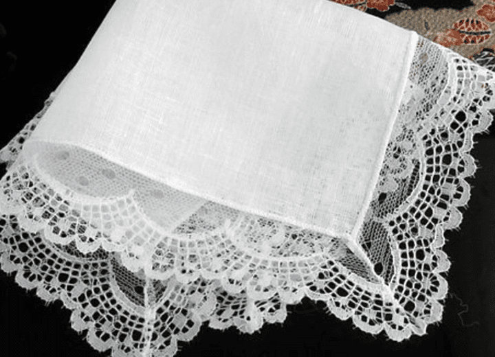 Lovely Linen Sheer Lace Design Delicate White Ladies' Handkerchief