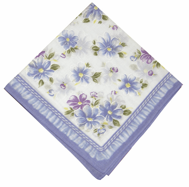 Lovely Printed 100% Cotton Lavender Floral Handkerchief