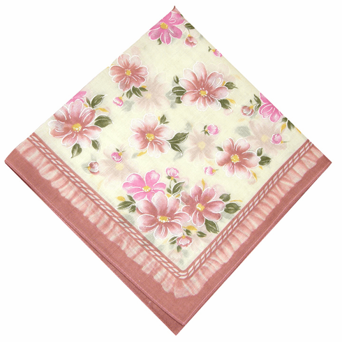 Lovely Printed 100% Cotton Mauve Floral Handkerchief