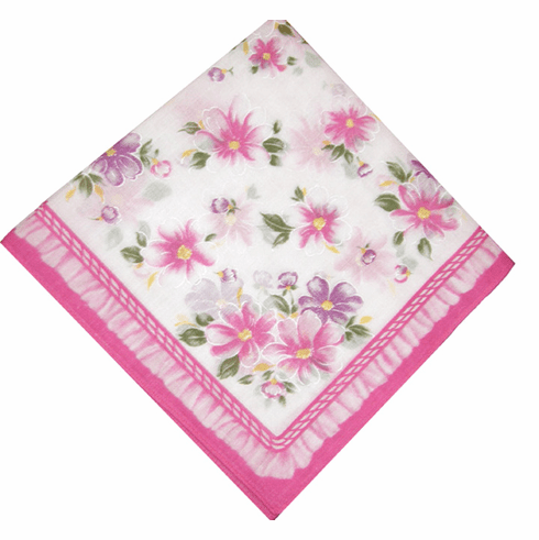 Lovely Printed 100% Cotton Pink Floral Handkerchief