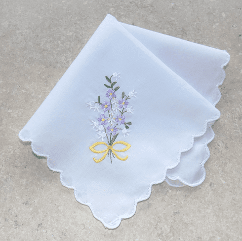 Lovely White 100% Cotton Ladies Handkerchief Lavender Floral Bouquet