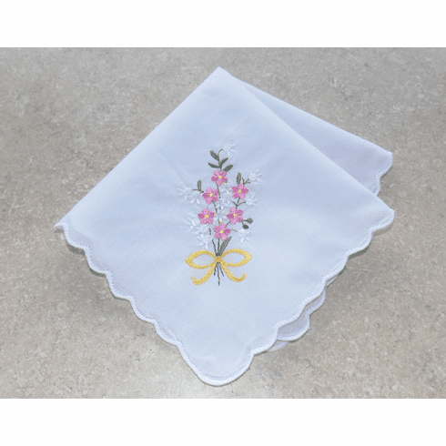 Lovely White 100% Cotton Ladies Handkerchief Pink Floral Bouquet