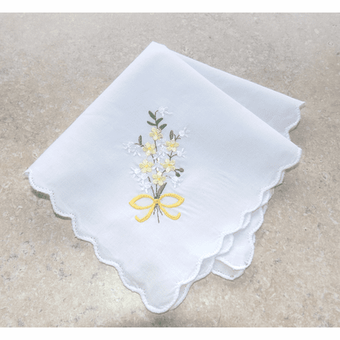 Lovely White 100% Cotton Ladies Handkerchief Yellow Floral Bouquet
