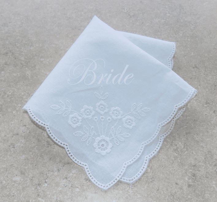 Lovely White on White Floral 100% Cotton Ladies Handkerchief