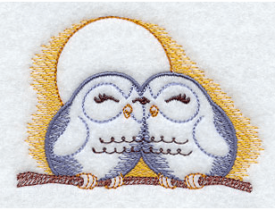 Loving Owls Handkerchief Embroidery Design hank7