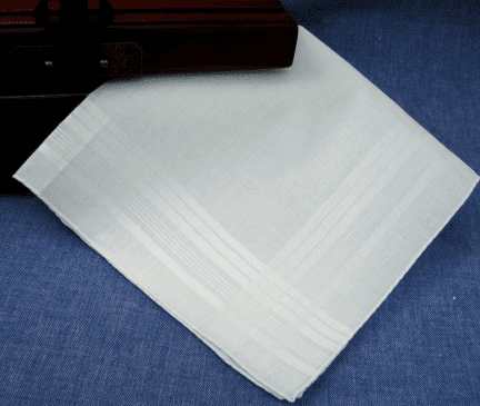 Men's White Satin Banded Handkerchief