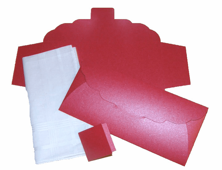 Men's Handkerchief Box Flat Fold Bright Shimmering Red Print 9-1/2 in x 4