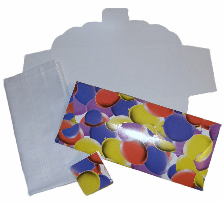 Men's Handkerchief Box Flat Fold Colorful Birthday Balloons 9-1/2 in x 4