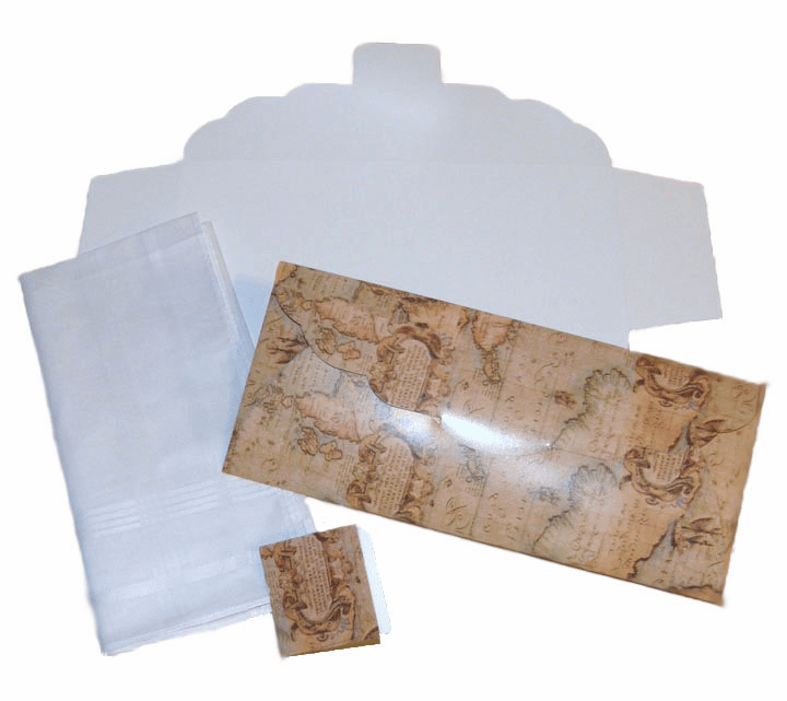 Men's Handkerchief Box Flat Fold Old World Map Print 9-1/2 in x 4 in