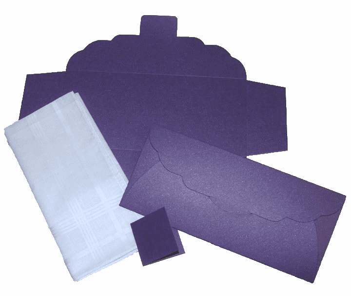 Men's Handkerchief Box Flat Fold Shimmering Deep Purple 9-1/2 in x 4