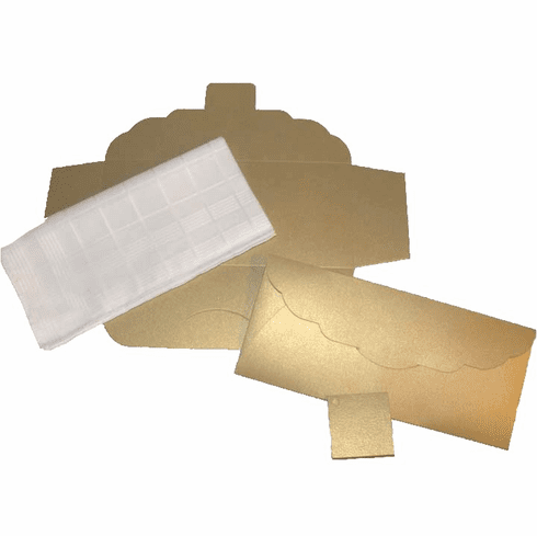 Men's Handkerchief Box Flat Fold Shimmering Gold 9-1/2 in  x 4 in