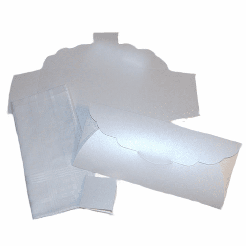 Men's Handkerchief Box Flat Fold Shimmering White 9-1/2 in x 4