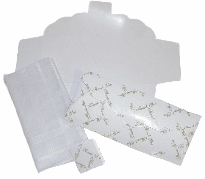 Men's Handkerchief Box Flat Fold White Thank You Print 9-1/2 in x 4
