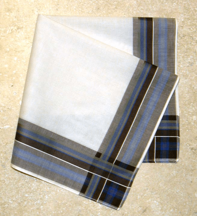 Men's Handkerchief Ivory w/Dark Brown & Royal Blue Woven Stripes
