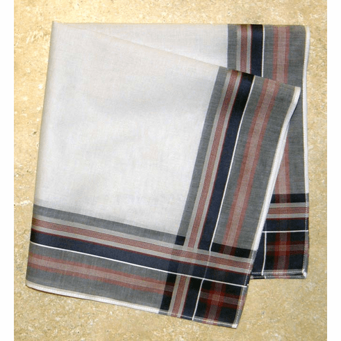 Men's Handkerchief Ivory w/Red & Navy Woven Stripes