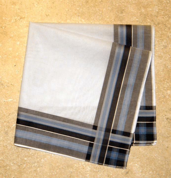 Men's Handkerchief White w/Brown & Blue Woven Stripes