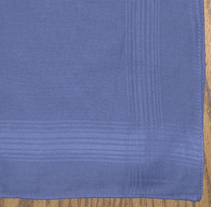 Mens 100% Cotton Indigo Satin Stripe Handkerchief