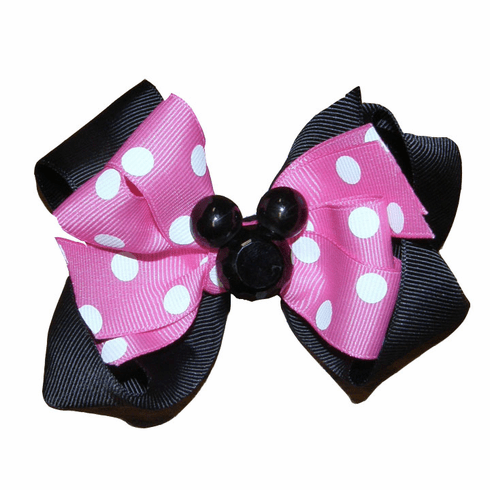 Minnie Mouse Hot Pink & Black Hairbow with Mouse Ears Embellishment