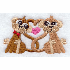Monkey Love Handkerchief Embroidery Design hank11