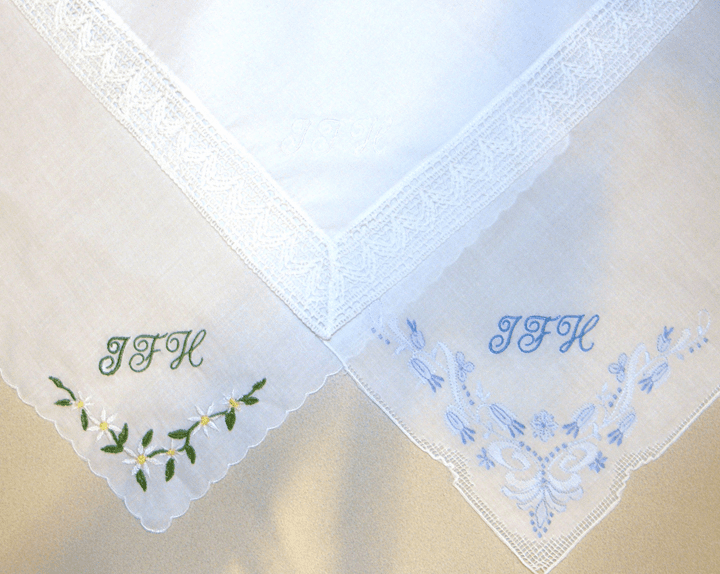Monogrammed Ladies 100% Cotton White Handkerchiefs