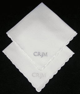 Monogrammed Ladies Simple White Scalloped Edged Handkerchief