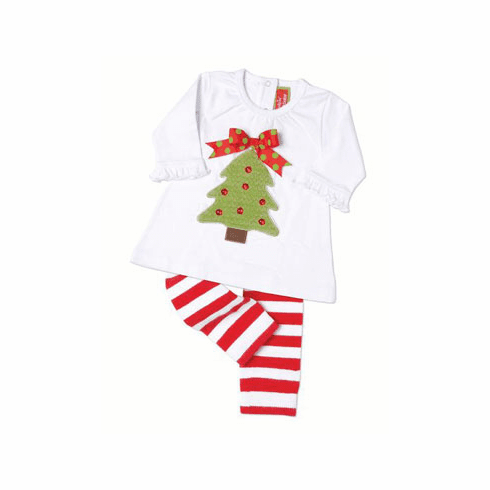 Mud Pie Christmas Tree Smock & Leggins Set