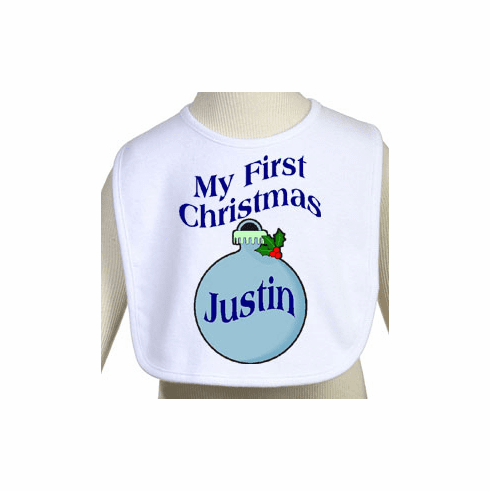 My First Christmas Personalized Baby Boy's Bib