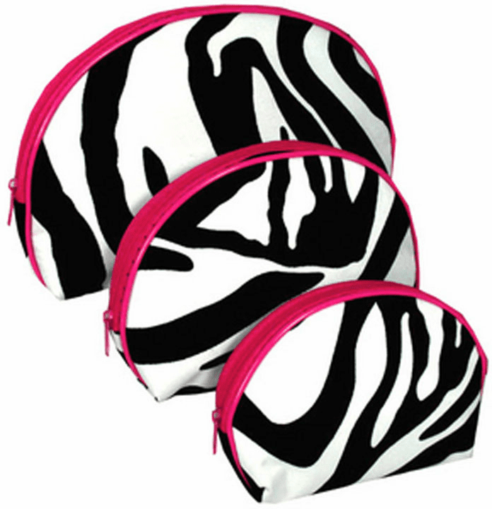 Nesting Zebra 3-Piece Cosmetic Set With Hot Pink Trim