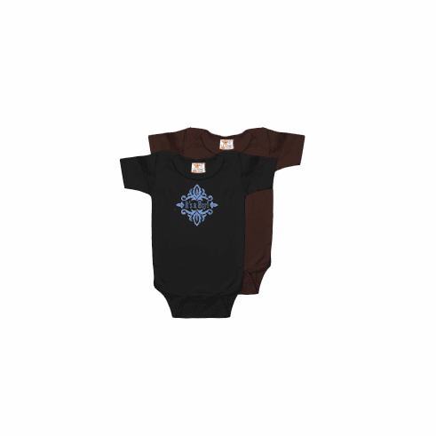 Onesie Black, Brown Short Sleeve Creeper 100% Cotton Personalize Me