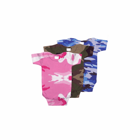 Onesie, Creeper Short Sleeve Green, Blue & Pink Woodland Camo Print Personalize Me