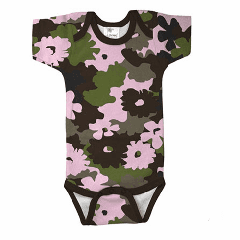 Onesie, Creeper Short Sleeve Green, Brown & Pink Floral Camo Print Personalize Me