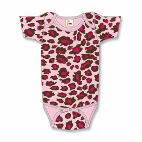 Onesie, Creeper Short Sleeve Leopard Print on Pink Personalize Me
