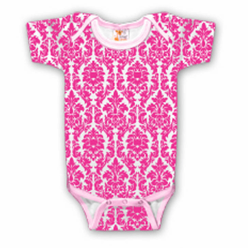 Onesie, Creeper Short Sleeve Pink Damask Personalize Me