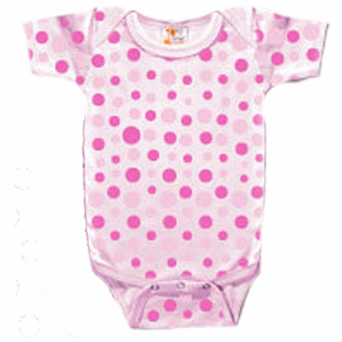 Onesie, Creeper Short Sleeve Pink Polka Dots Personalize Me