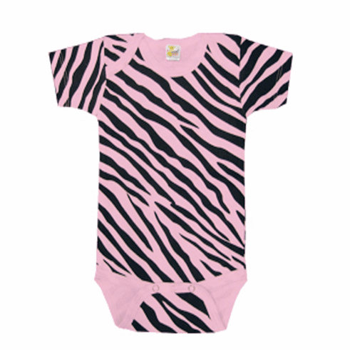 Onesie, Creeper Short Sleeve Pink with Zebra Print Personalize Me