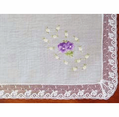 Pansy Spray Embroidered Swiss Cotton Handkerchief Personalize Me
