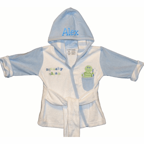 Peersonalized White and Blue Baby Robe Turtle Design